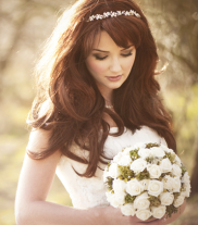 Classic blowout with a beautiful hairpiece is always a safe bet for gorgeous photos! Via hellobeautifulsalon.com